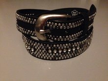 Riem breed 'studs/strass' - Zwart